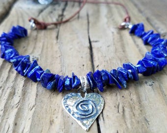 Lapis Necklace with Hill Tribe Silver, Sterling Silver Heart Pendant, Lapis and Leather, Lapis Chips, Lapis Jewelry