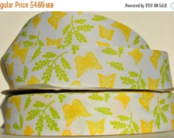 "ON SALE 5 yards  - yellow butterfly print 1.5""  grosgrain ribbon"