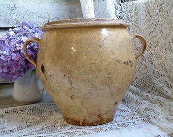 Antique french yellow glaze pottery jar. French farmhouse. Antique french country large glazed terra cotta jar. Rustic farmhouse decor