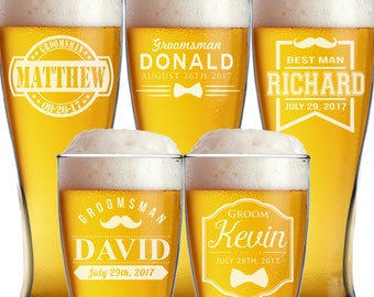 Personalized Pilsner Glasses, Beer Mugs, Groomsmen Gift, Beer Stein, Groomsmen Beer Glasses, Groomsmen Beer Mug, Custom Beer Glasses