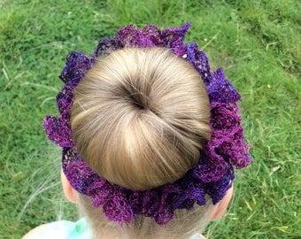Purple Sparkly Ruffle Scrunchie