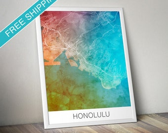Honolulu Map Print - Map Art Poster with Watercolor Background