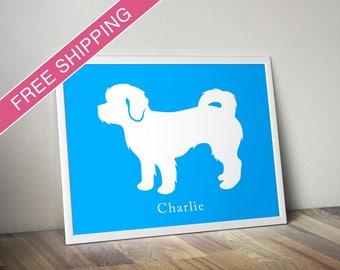 Personalized Shih-Poo Silhouette Print with Custom Name - Shih-Poo art, dog poster, dog gift, modern dog home decor