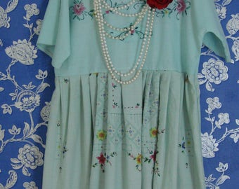 Gorgeous Recycled Vintage Cotton Embroidered Tablecloth Light Green Empire Waist Babydoll Style Dress