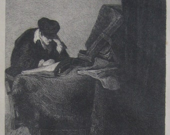 19th Century W. Unger Etching After Rembrandt The Man Studying - Free Shipping