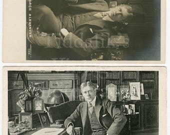 2 George Alexander Edwardian Stage Film Actor RPPC Postcards - Rapid and W E B & Co. - Unused and Postmarked Photograph