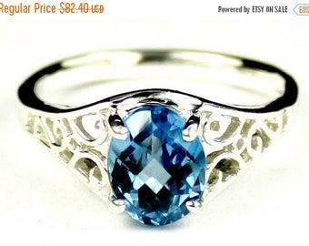 On Sale, 30% Off, Swiss Blue Topaz, 925 Sterling Silver Ring, SR005