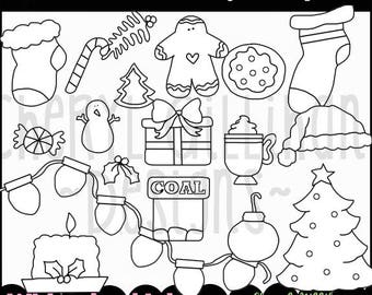 DIGITAL SCRAPBOOKING CLIPART - Christmas Elements Digital Stamps