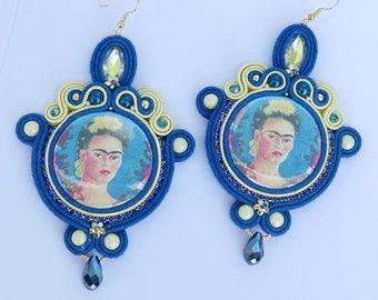 Frida Kahlo tribute - Soutache earrings handmade in Italy by KIMA OOAK