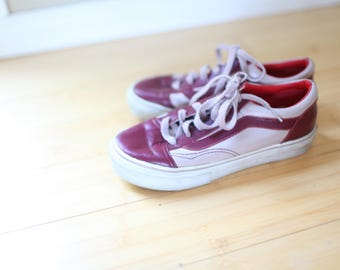 vintage vans maroon leather sneakers womens 7