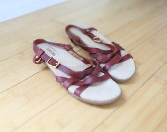 vintage sanjuns strappy  burnt red brown  leather sandals womens 8 1/2