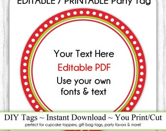 Printable Christmas Party Favor, Red Dotted Editable Party Tag, INSTANT DOWNLOAD, Use as Cupcake Topper, DIY Party Tag