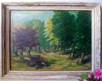 Landscape oil painting on board. Signed and dated 1956