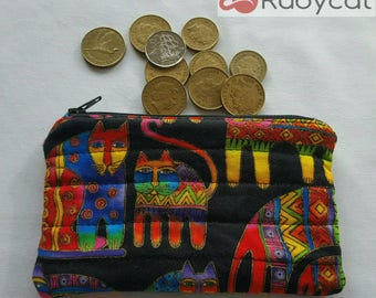 Coin purse with rainbow cats