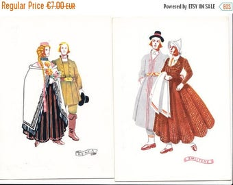 SUMMER SALE -30%off Unused postcard set from 50s - Latvian folk costumes - made in Latvia - artist Girta Vilka - Latvian National Costumes -