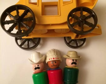 Vintage Fisher Price Little People Western Town Stage Coach with Indian Sheriff Cowboy