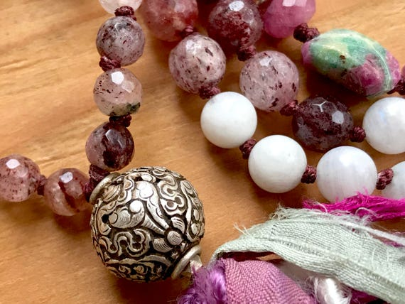 Awaken from Ignorance Mala Beads, Conch Shell Symbol, 8 Auspicious Path, Buddhist Path, Moonstone, Ruby, Cherry Quartz, Ruby Zoisite