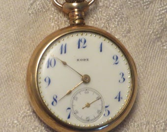 Vintage Antique Victorian Rode Watch Co Swiss 15 jewel gold filled half hunter case pocket watch runs nicely
