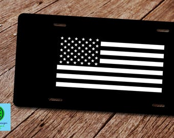 tactical american flag license plate license plate frameamerican flag license plateblack - Military License Plate Frames