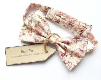 mens bow tie floral print, floral bow tie, Liberty print bow tie, wildflower print bow tie, floral bow tie