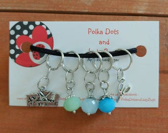 Knitting Stitch Markers - beaded stitch markers, progress keeper - set of 5