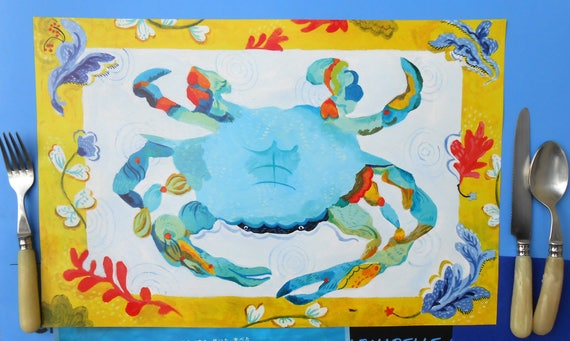 Paper placemat set of 12 Blue whale/blue crab design by Kimberly Hodges, whale placemat, paper place mat, blue crab, beach party