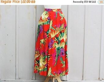 Orange Hawaiian Skirt - Elastic Waist Skirt - Vintage Floral Skirt - 90s Grunge Skirt - Colorful 80s Skirt - Boho Skirt - Tropical Skirt