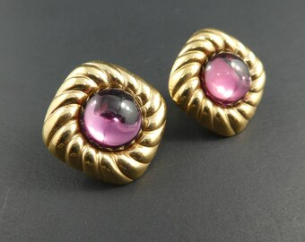 Vintage, Pink Earrings, Lucite, Gold Tone, Clip Ons, STL7