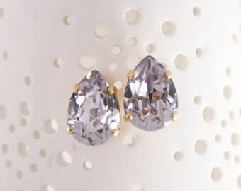 Teardrop earrings | Gold stud earrings | Swarovski earrings | Smoky mauve | purple earrings | purple wedding | dusty mauve | bridal earrings