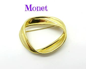 Monet Circle Brooch, Vintage Abstract Circle Pin, Signed Designer Gold Tone Brooch, Perfect Gift, Gift Box