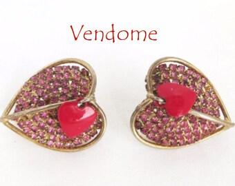 Vendome Heart Earrings, Vintage Pink Rhinestone, Red Enamel Double Heart Clip-on Earrings, FREE SHIPPING