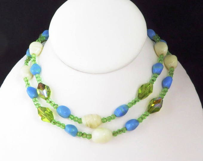 Hattie Carnegie Art Glass Necklace, Vintage Cream Blue Green Glass Beaded Necklace, Signed Designer Jewelry, FREE SHIPPING