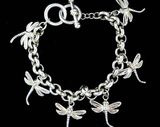 Dragonfly Charm Bracelet, Vintage Signed Best Silver Tone, Moving Dragonfly Bracelet