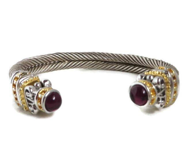 Vintage Grooved Cuff Bangle, Silver Tone Gold Tone Red Beaded Bracelet