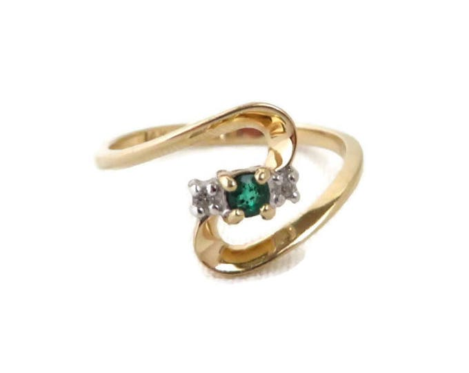 Vintage Emerald  Ring - 14K Gold Emerald, Diamond Ring, Promise Ring, Size 6.5