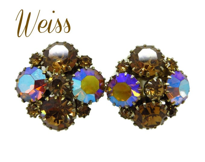 Rhinestone Cluster Earrings, Vintage Weiss Cognac Rhinestone Earrings, Cluster Clip-on  Earrings, Gift for Her, FREE SHIPPING