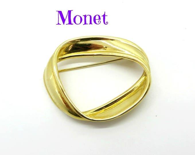 Monet Circle Brooch, Vintage Abstract Circle Pin, Signed Designer Gold Tone Brooch, Perfect Gift, Gift Box