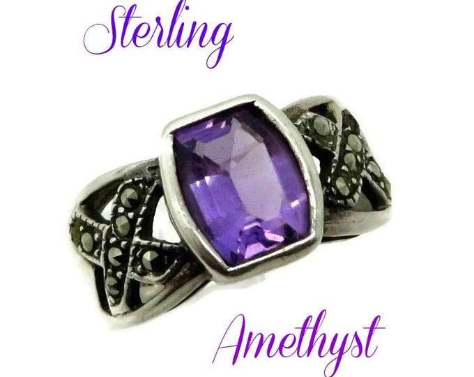 Sterling Silver - Amethyst Marcasite Ring, Vintage Sterling Silver Ring, Wide Band February Birthstone Size 7.5