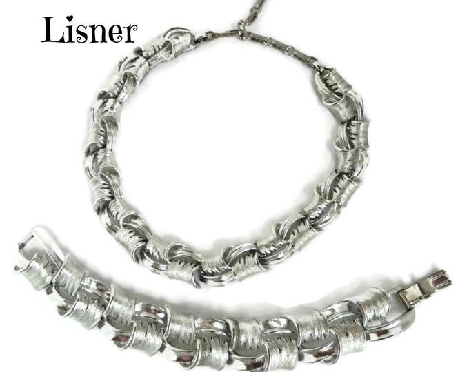 Lisner Demi Parure - Vintage Designer Necklace Bracelet Set, Chunky Silver Tone Links, Perfect Gift, Gift Box, FREE SHIPPING