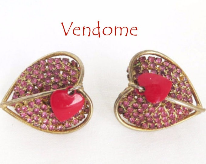 Vendome Heart Earrings, Vintage Pink Rhinestone, Red Enamel Double Heart Clip-on Earrings, FREE SHIPPING