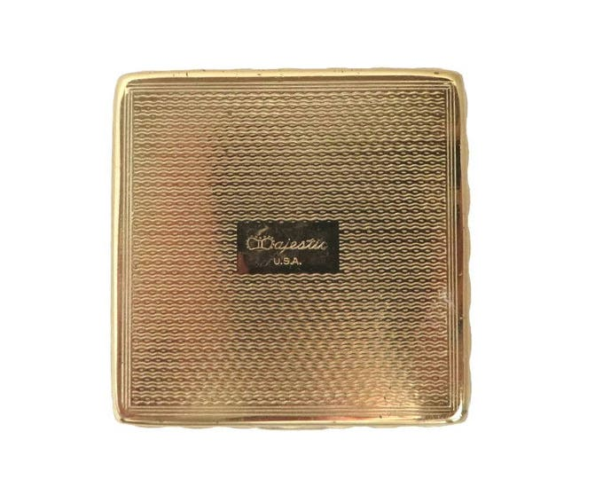 Vintage Majestic USA Compact, 1930s Square Mirrored Powder Compact, Collector's Makeup Case