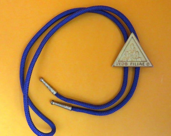 Vintage Bolo Tie - Jobs Daughters IYOB FILIAE Purple Tie with Triangle Pendant, Masonic Bolo
