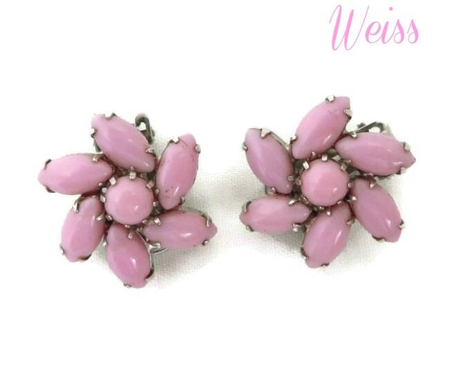 Weiss Pink Glass Earrings - Vintage Pinwheel Flower Silver Tone Clip-on Designer Signed Earrings