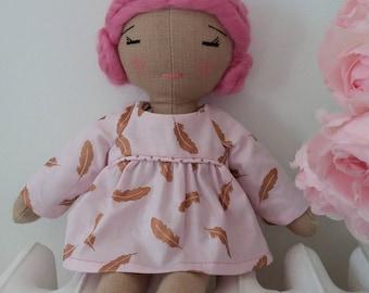 Pink linen hair doll