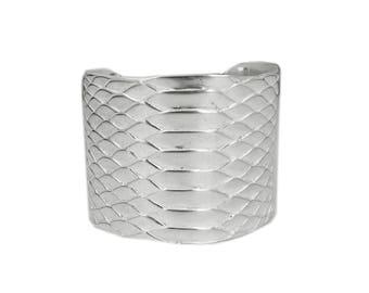Cuff sterling silver embossed Python skin
