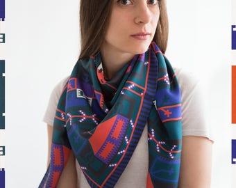 Silk scarf, Square silk wrap, Print scarf, Multicolour scarf, Elegant scarf, Geometric pattern scarf, Silk shawl, Shevitza, Bulgarian gift