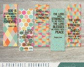 Inspirational Printable Bookmarks | Feminine Strength scripture bookmark | Digital Instant Download | Set of 5 | Bible verse Psalm bookmark