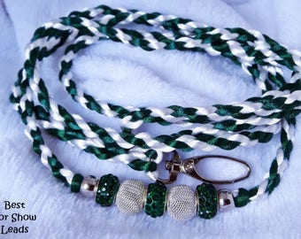 Dog show lead leash, snap style, handbraided 4 strands