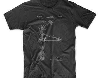 Drum Kick Patent T-shirt, Drummer Shirt, Drum Pedal, Percussion, Drummer Gift PP0104