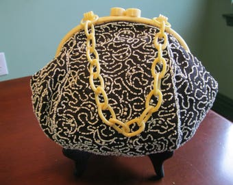 Vintage Hand Beaded Linen Handbag with Celluloid Frame and Handle
